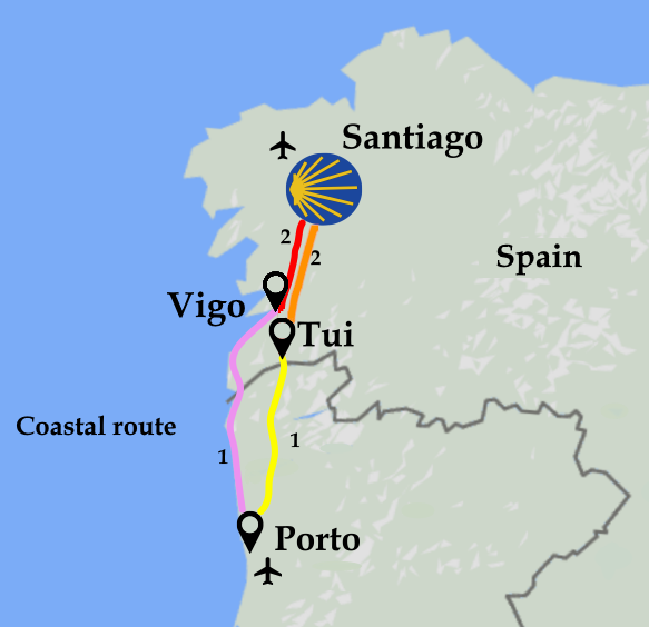 Map Camino Portugues Coastal
